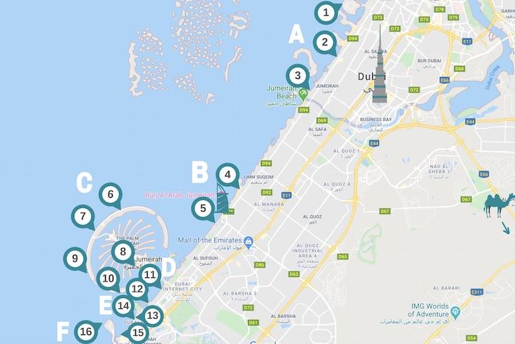 Carte les hôtels de plage de dubai